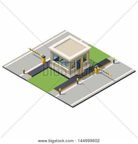 Vector illustration of a security kiosk with barrier.Security check point illustration.Isometric building gate.