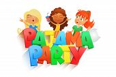 illustration of three girls having pajama party. Invintation card template. Vector illustration poster