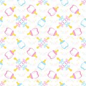 Baby bottle and Baby's dummy. Comforter seamless pattern background. Kids seamless pattern. EPS 10 poster