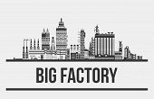 Big factory or plant, manufactory or works exterior. Outline of chimneys and cars, lamp and pipelines. Facade silhouette of assembly line. Can be used for pollution and standardization, technology theme poster