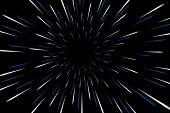 Warp stars galaxy vector illustration. Zoom in light speed space poster