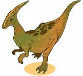 illustration of a Parasaurolophus. Dinasour  ever lived in what is now North America during the Late Cretaceous Period, about 75 million years ago. It was a herbivore that walked both as a biped and a quadruped. poster