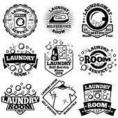 Set of Vector Laundry badges. With bubbles, laundromat, detergent etc poster