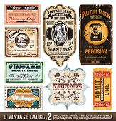 Vintage Labels Collection - 8 design elements with original antique style -Set 2 poster