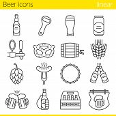Beer linear icons set. Bar and pub thin line contour symbols. Beer glass, bottle, can, mug, tap, cap and bottle opener. Sausage, brezel, rye, hop and bar sign. Isolated vector illustrations poster