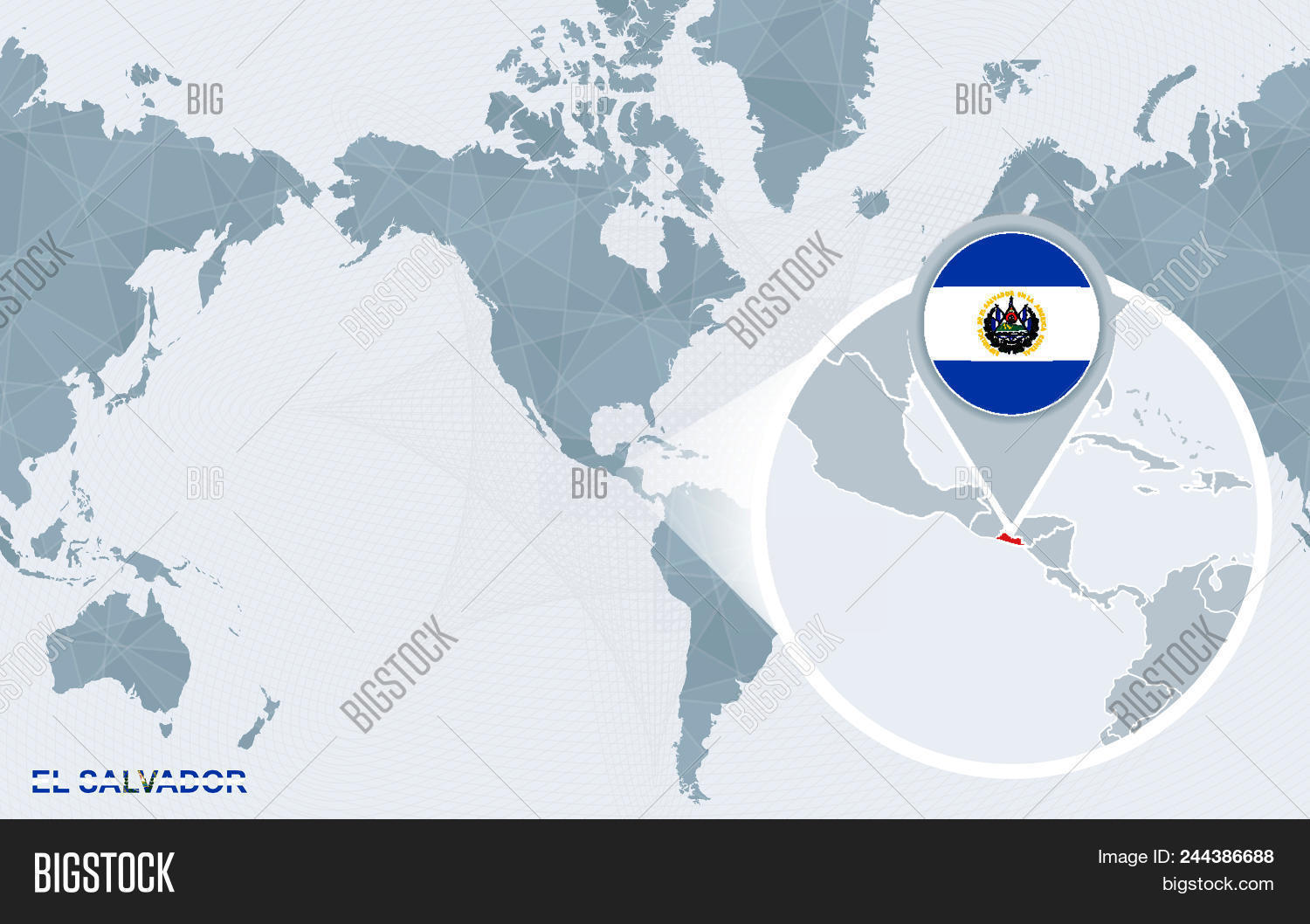 World map centered on vector photo free trial bigstock world map centered on america with magnified el salvador blue flag and map of el gumiabroncs Gallery