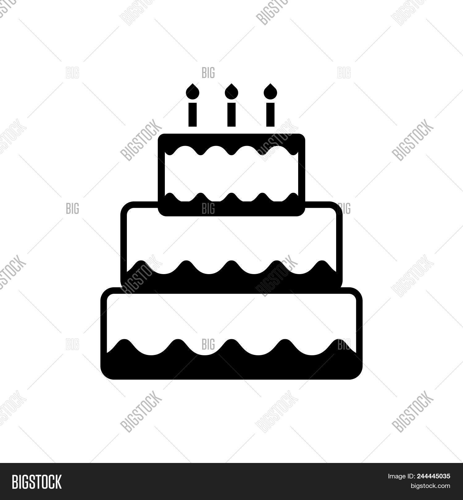 Birthday Cake Vector Icon On White Background Modern For Graphic And Web