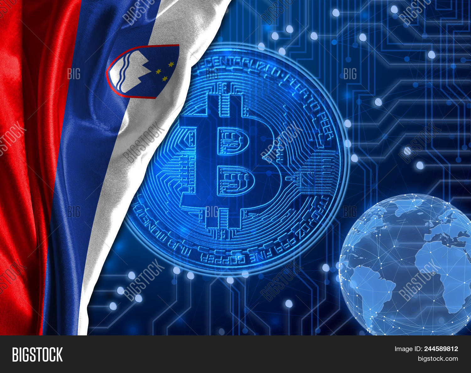 Flag Of Slovenia Is Shown Against The Background Crypto Currency Bitcoin Global World