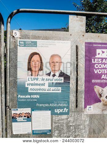 Strasbourg, France - Jun 10, 2017: Political Posters Advertising Of Elections Legislatives Francaise