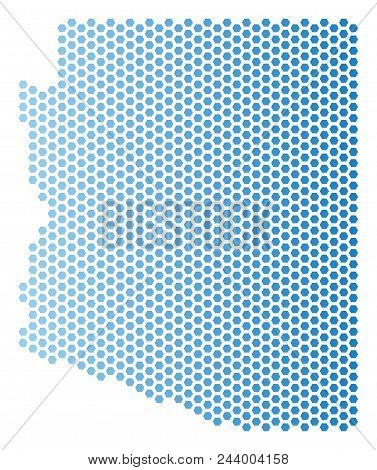 Hex-tile Arizona State Map. Vector Geographic Scheme In Light Blue Color With Horizontal Gradient. A