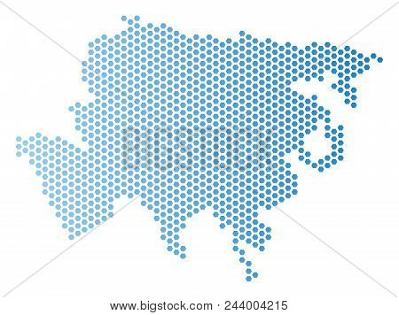 Hexagonal Asia Map. Vector Territory Scheme In Light Blue Color With Horizontal Gradient. Abstract A