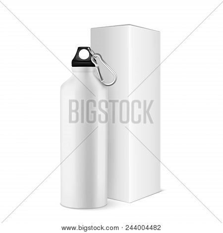 Vector Realistic 3d White Empty Glossy Metal Water Bottle With Black Bung And Box Closeup Isolated O