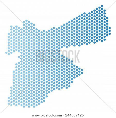 Hexagon Jordan Map. Vector Territorial Plan In Light Blue Color With Horizontal Gradient. Abstract J