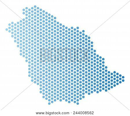 Hex-tile Saudi Arabia Map. Vector Territory Scheme In Light Blue Color With Horizontal Gradient. Abs