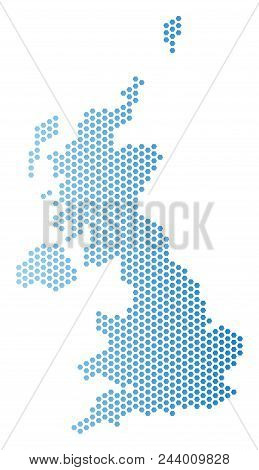 Honeycomb United Kingdom Map. Vector Territorial Plan In Light Blue Color With Horizontal Gradient.