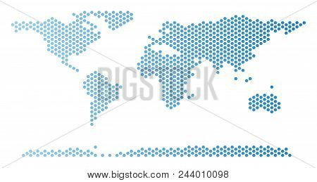 Honeycomb World Continent Map. Vector Territory Scheme In Light Blue Color With Horizontal Gradient.