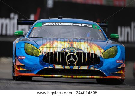 June 02, 2018 - Detroit, Michigan, USA: The SunEnergy 1 Racing Mercedes AMG GT3 car races for the Chevrolet Sports Car Challenge at Belle Isle Street Course in Detroit, Michigan.