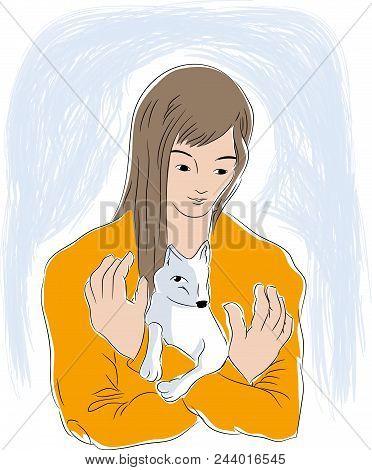 Girl And Tiny Dog.  Girl Hugging Her Dog. Illustration Of Pets And Animal Lovers.