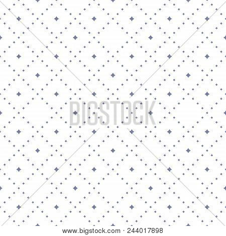 Subtle Seamless Pattern With Tiny Star Shapes In Square Grid. Abstract Geometric Texture In Soft Pas