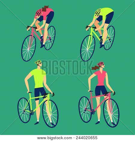 Man And Woman Cyclists Set. Colorful Editable Vector Illustration For Your Design.