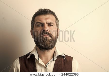 Serious Man. Hipster In Shirt And Waistcoat. Man With Long Beard And Mustache On Serious Face. Fashi
