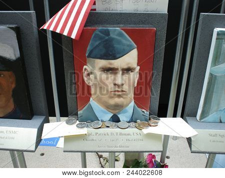 Portrait Of Patrick Pat Tillman At The Women In Military Service For America Memorial, Arlington Nat