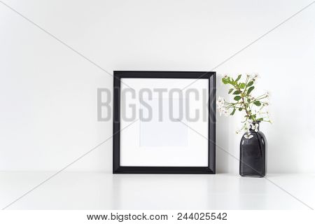 Frame Mock Up With Spring Cherry Bouquet. Mock Up For Your Photo, Design Or Text.