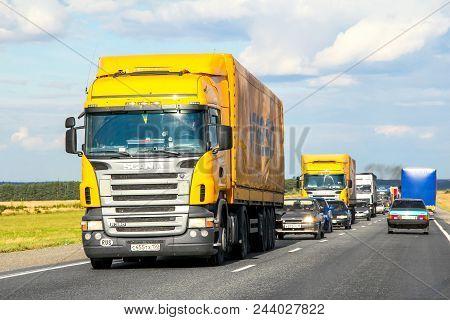 Tatarstan, Russia - August 27, 2011: Semi-trailer Truck Scania R380 At The Interurban Road.