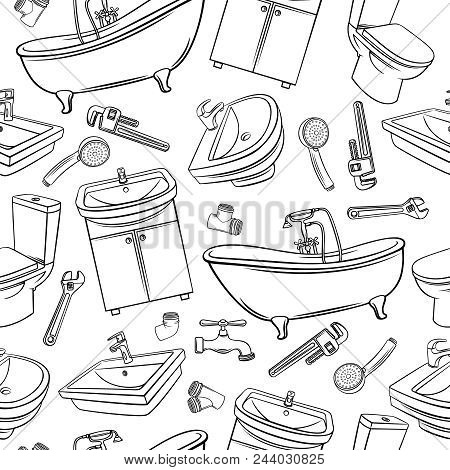 Plumbing Seamless Pattern. Hand Drawn Shower, Bathroom Sink, Toilet, Sanitary Wrench And Tap For Hou