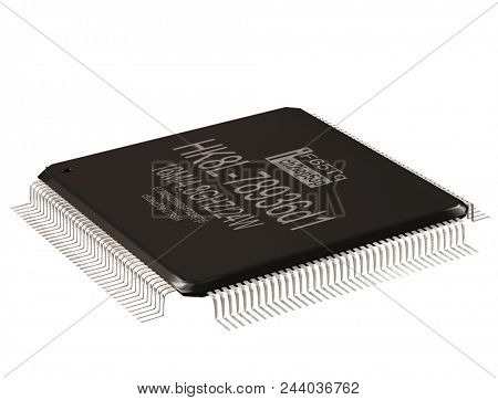 Integrated circuit or lowpass micro chip and new technologies on isolated. Computer parts coprocessor integral IC component digital signal processor. Microprocessors 3d rendering.