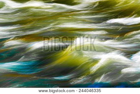 Freudian: Long Exposure Of White Water Rapids On A River Near Denver, Colorado