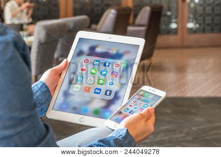 Bangkok, Thailand - July 31, 2018: Social Media App Icons On Ipad, Iphone 7 Smart Phone Touchscreen