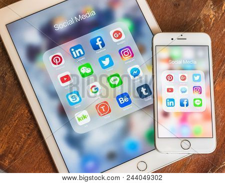 Bangkok, Thailand- June 21, 2018: Social Media App Multi-channel Icons On Ipad, Iphone Touchscreen M