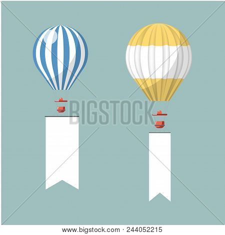 Hot Air Balloon Or Flying Advertising Media For Outdoor Ad Display Constructions. Vector Billboard O
