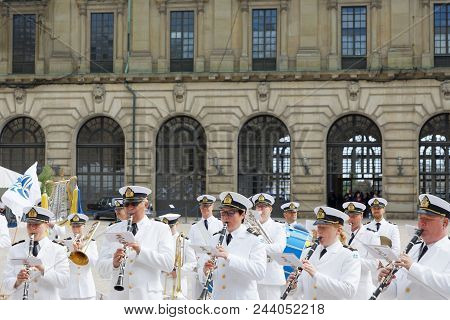 Stockholm, Sweden - Jun 06, 2018: Royal Music Band Playing During Celebration Of The Swedish Nationa