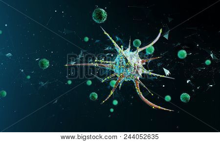 The Study Of Biological Virus Under An Electron Microscope Virus Cells Under A Microscope. 3d Render