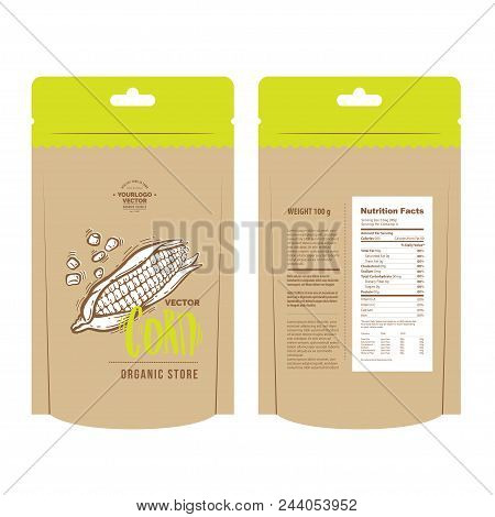 Classic Brown Recycled Paper Bag Template For Your Design. Vector Hand-drawn Illustration Of Organic