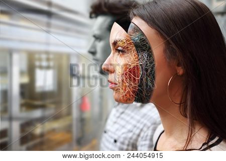 ?ollage cyborg woman and man in factory for production of robots, artificial intelligence concept, closeup, profile view