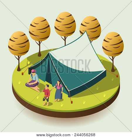 Gypsy Camping Outdoors Design Concept With Romany Family Resting Near Tent Isometric  Vector Illustr