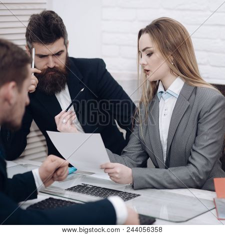 Lady Manager Tries To Organize Working Process With Colleagues In Office. Business Colleagues At Mee