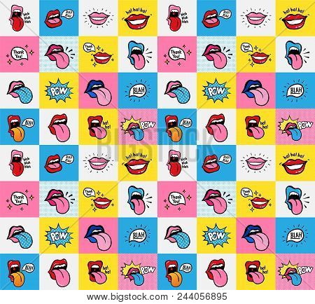 Pop Art Lips Seamless Pattern. Vector Sexy Woman S Lips Expressing Different Emotions Smile Half-ope