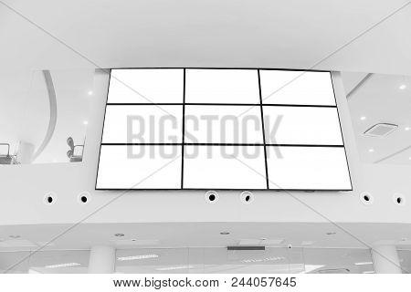 Video wall LED screen array billboard setup installation indoor office hall poster