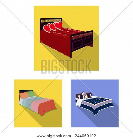 Different Beds Flat Icons In Set Collection For Design. Furniture For Sleeping Vector Isometric Symb