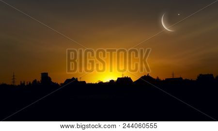 Crescent Moon With Stars . Crescent Moon With Beautiful Sunset Background . Generous Ramadan  . Dram