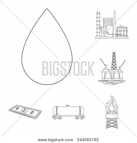 Oil Industry Outline Icons In Set Collection For Design. Equipment And Oil Production Vector Symbol