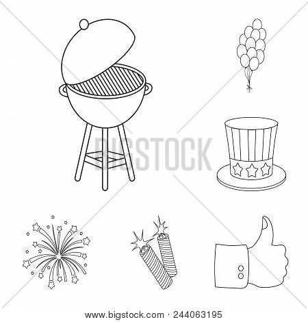 Day Of Patriot, Holiday Outline Icons In Set Collection For Design. American Tradition Vector Symbol