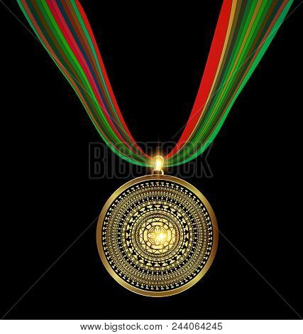 Dark Background With Golden Pendant Medal Image Of Circle Consisting Of Lines And Figures With Abstr