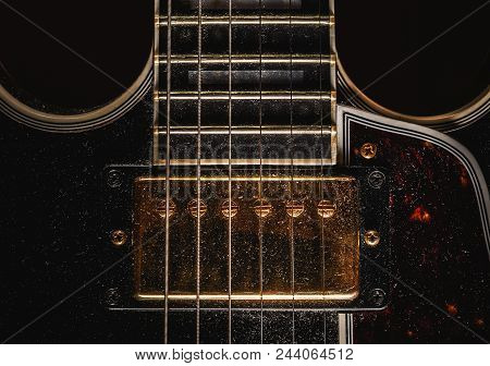 Details Of An Old Dusty Electric Guitar.