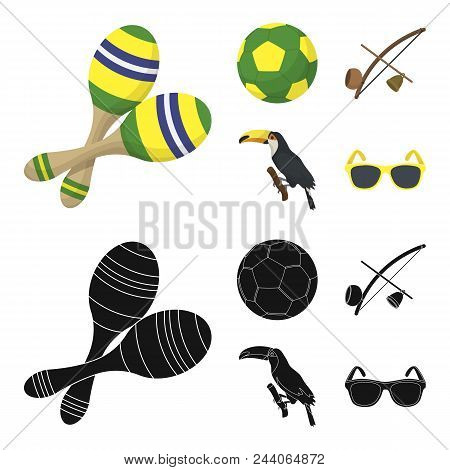 Brazil, Country, Ball, Football . Brazil Country Set Collection Icons In Cartoon, Black Style Vector
