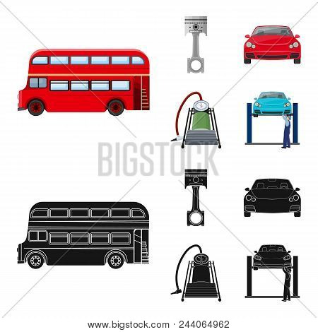 Car On Lift, Piston And Pump Cartoon, Black Icons In Set Collection For Design.car Maintenance Stati